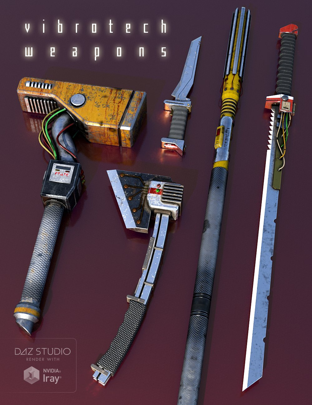 Vibrotech Weapons by: Sharktooth, 3D Models by Daz 3D