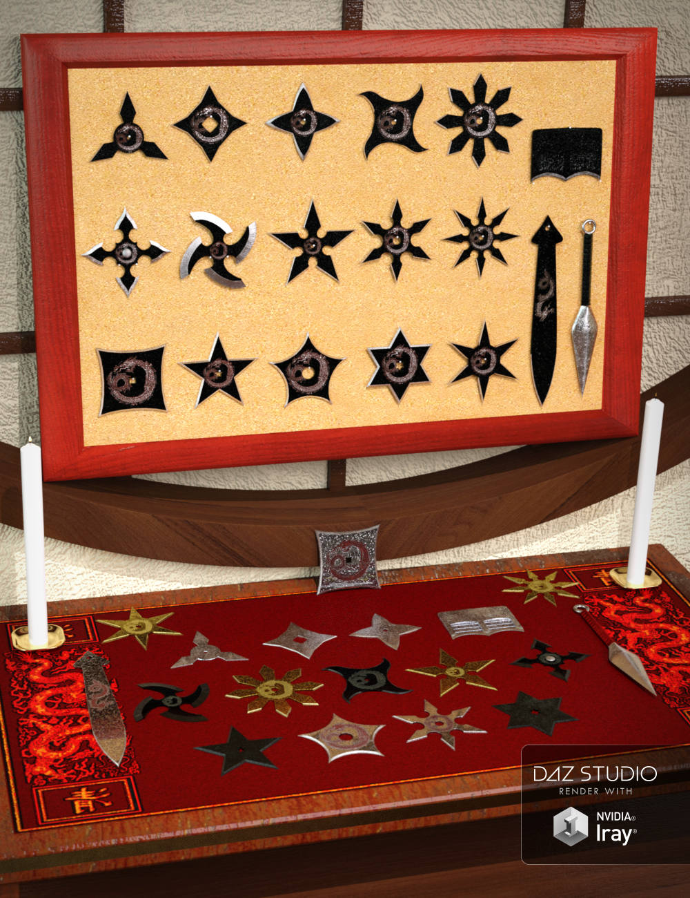 Dragon Shuriken - 18 Piece Throwing Star Set by: coolprops, 3D Models by Daz 3D