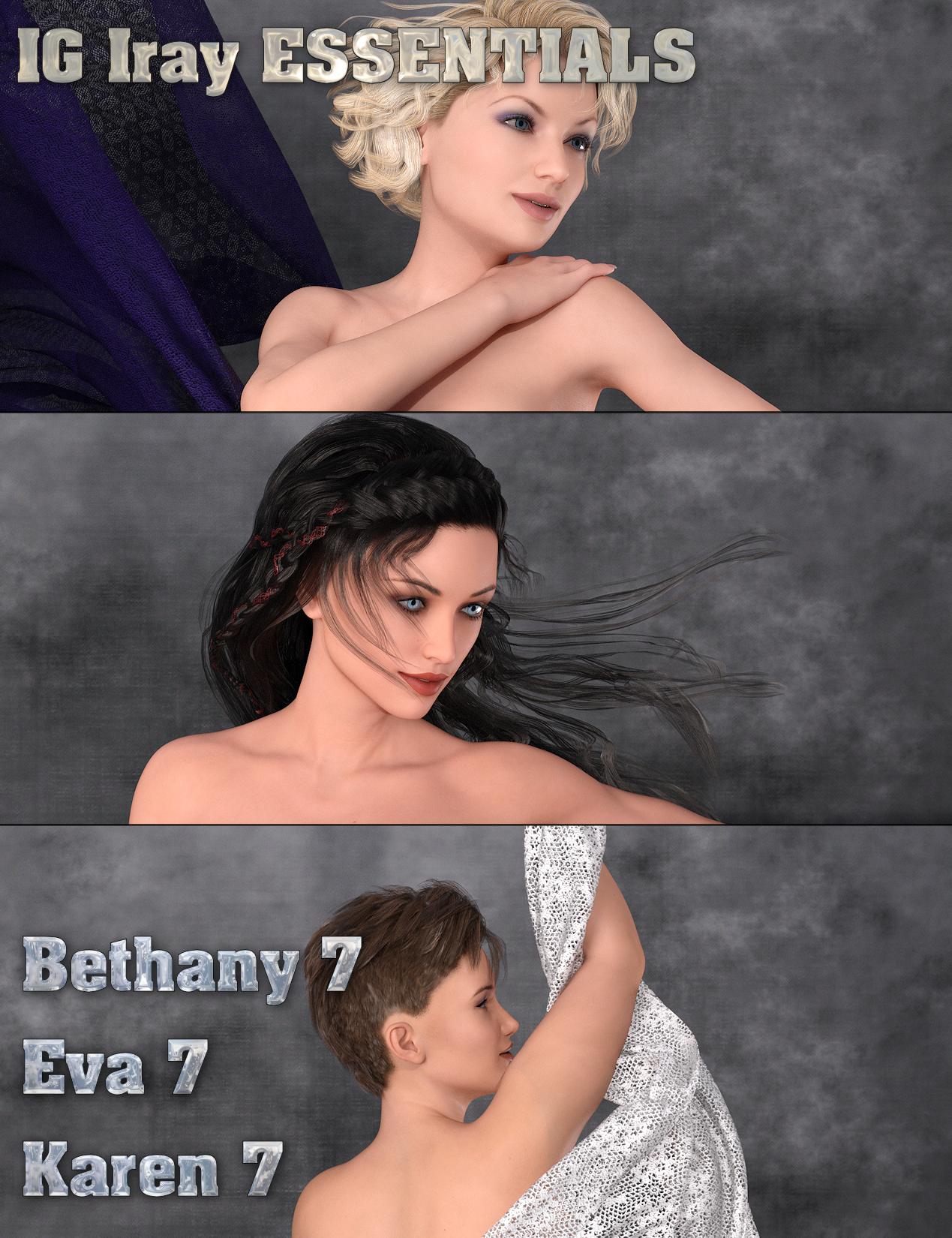 IG Iray Essentials - Bethany 7, Eva 7 and Karen 7 by: IDG DesignsInaneGlory, 3D Models by Daz 3D
