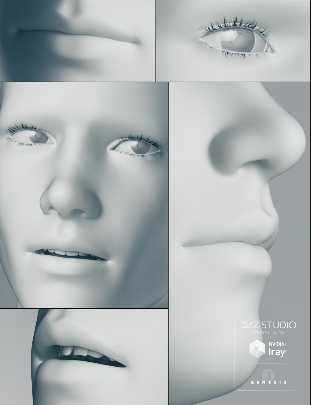 Genesis 3 Male Head Morphs by: , 3D Models by Daz 3D