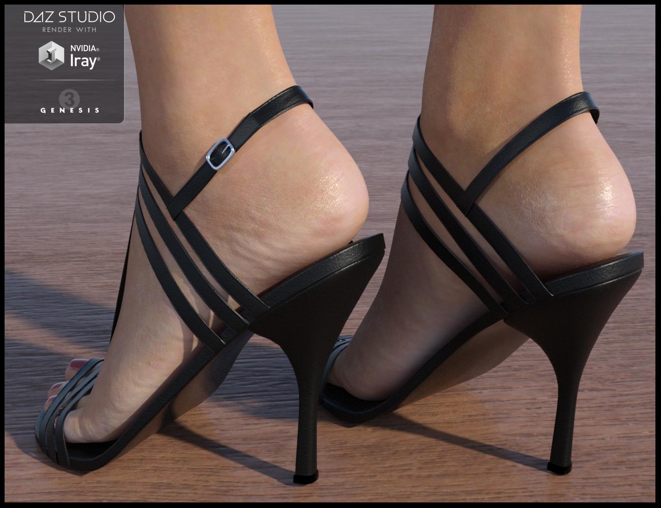 Strappy Sandal Heels for Genesis 3 Female(s) by: Nikisatez, 3D Models by Daz 3D