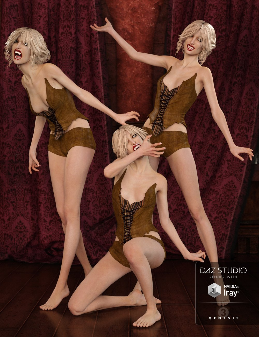 Capsces Vampy Arabella 7 Poses and Expressions by: Capsces Digital Ink, 3D Models by Daz 3D