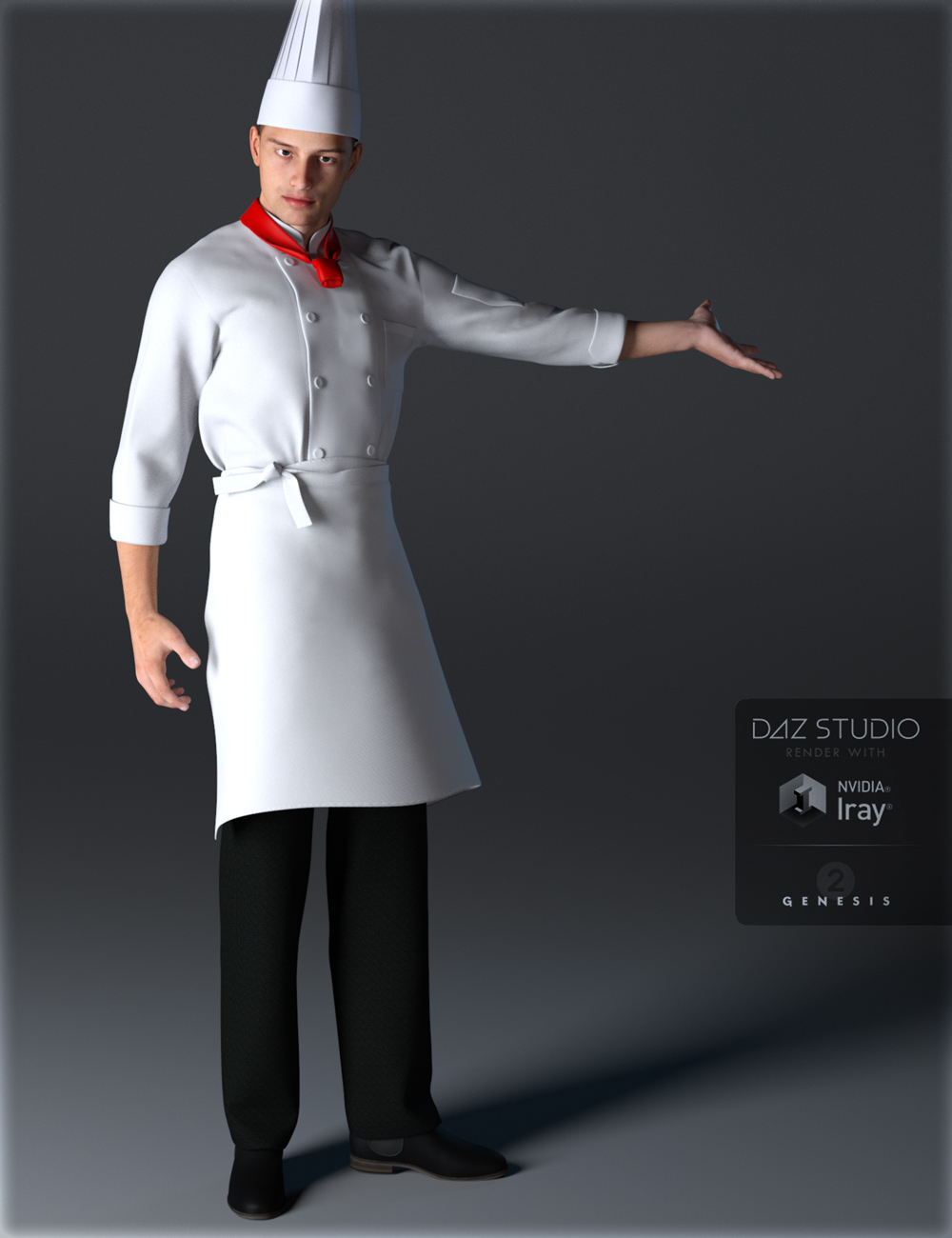 Chef Uniforms for Genesis 2 Male(s) by: IH Kang, 3D Models by Daz 3D