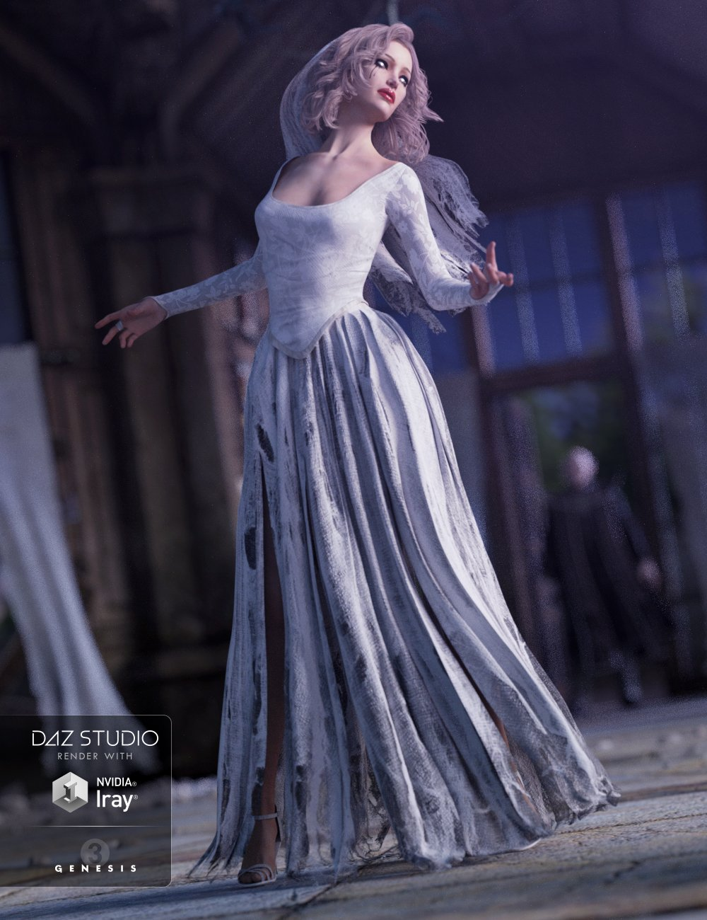 Ghost Bride Dress for Genesis 3 Female(s) by: NikisatezSarsa, 3D Models by Daz 3D