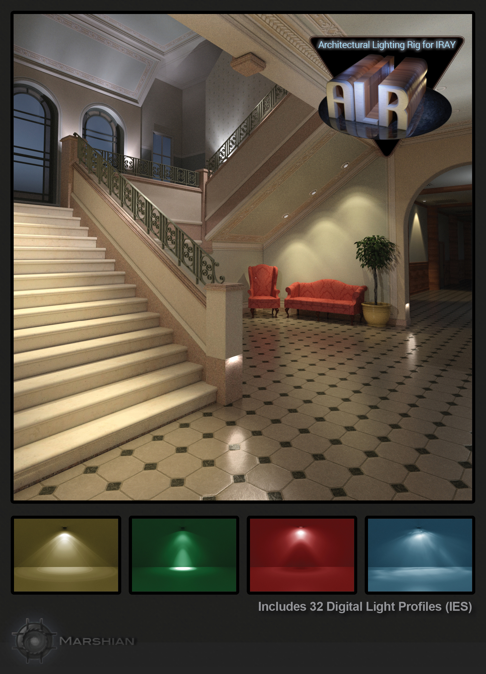 Architectural Lighting Rig for Iray by: MarshianMarshian2, 3D Models by Daz 3D