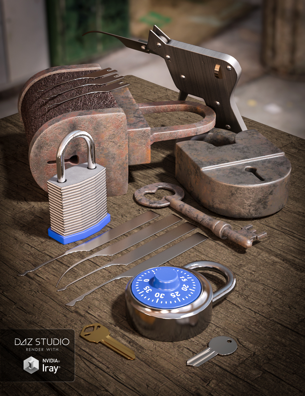 Locksmithing Set by: Valandar, 3D Models by Daz 3D