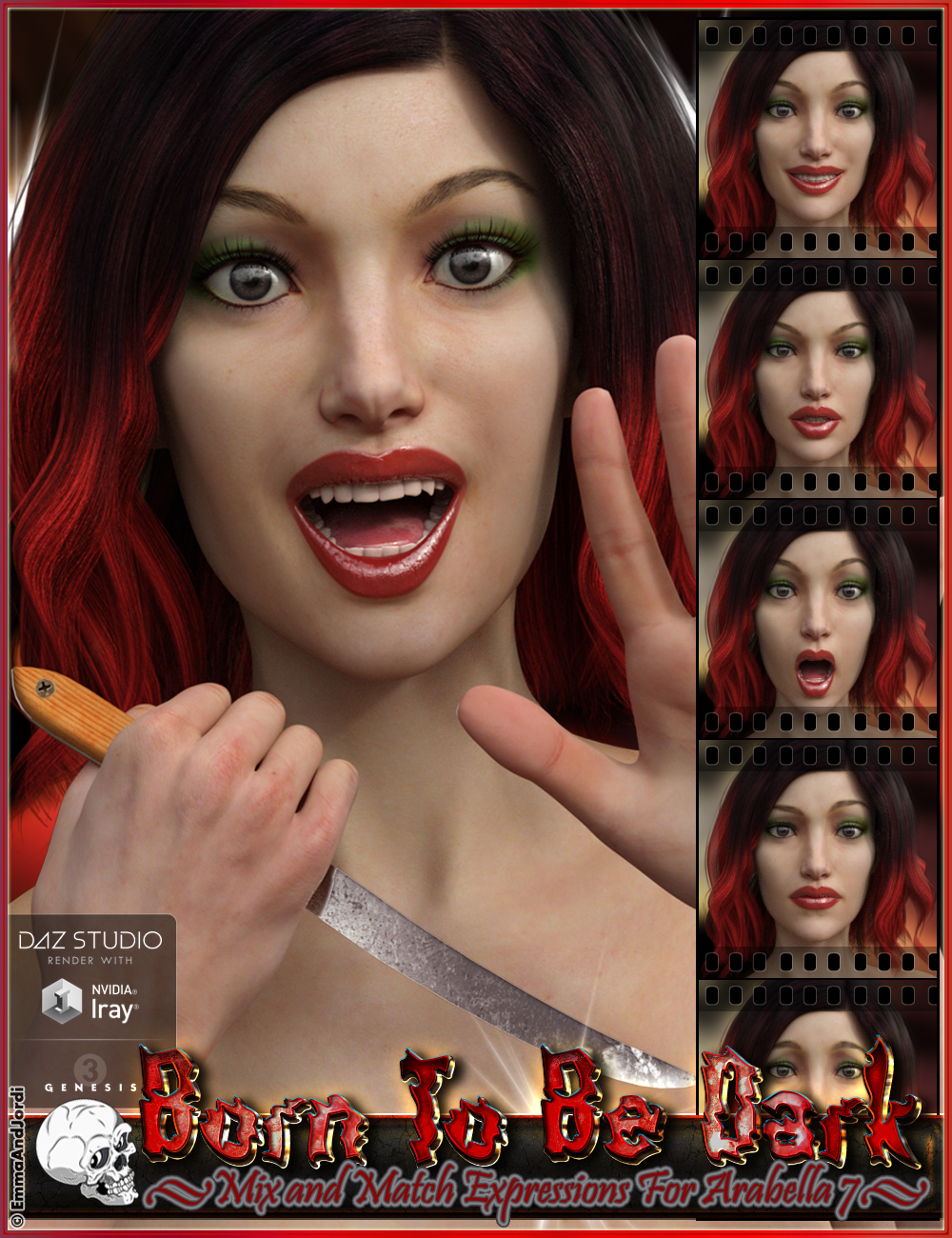 Born To Be Dark Mix and Match Expressions for Arabella 7 by: EmmaAndJordi, 3D Models by Daz 3D