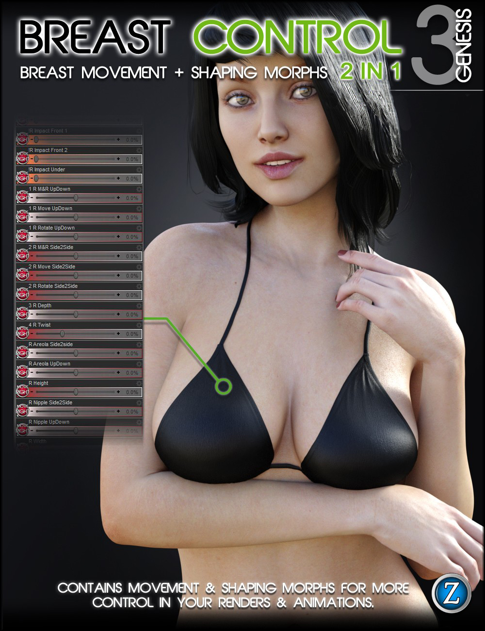 Breast Control for Genesis 3 Female(s) by: Zev0, 3D Models by Daz 3D