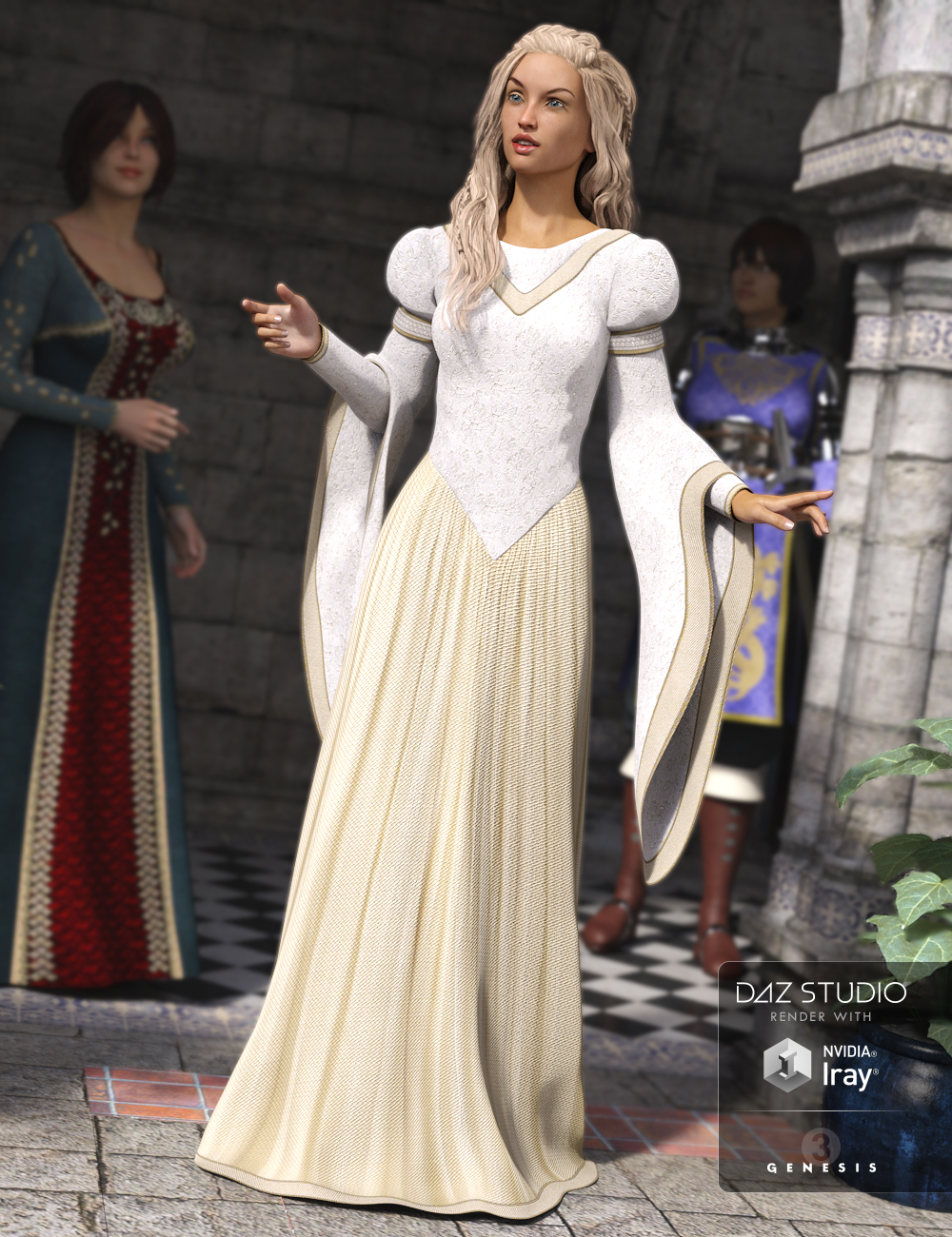 Medieval Princess Dress for Genesis 3 Female(s) by: Mada, 3D Models by Daz 3D