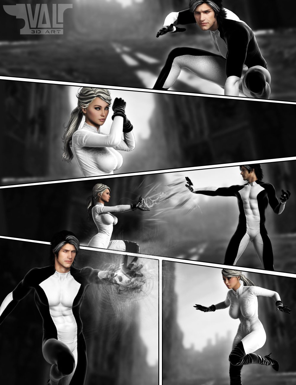Superhero Poses by: Val3dart, 3D Models by Daz 3D
