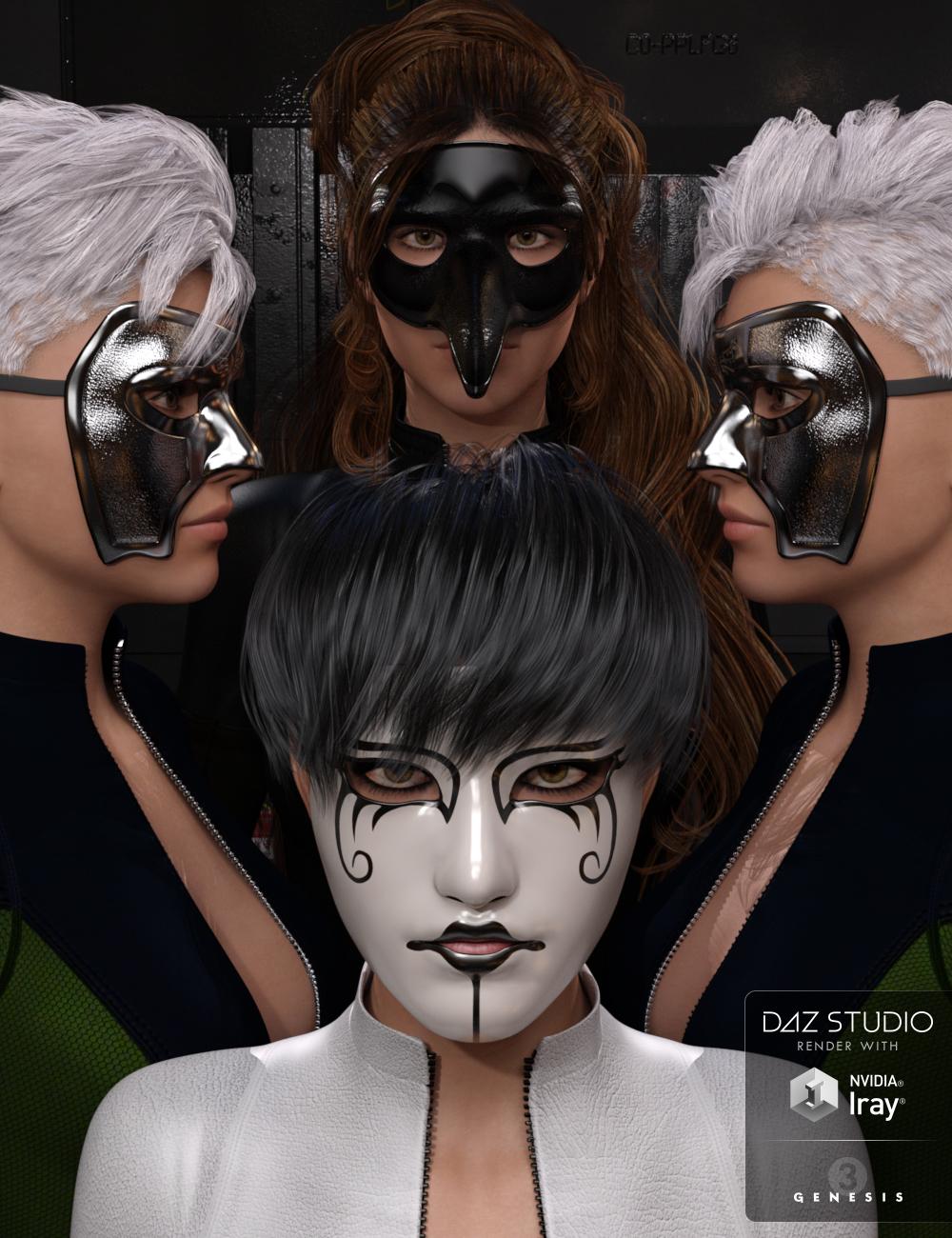 Amazing Masks - Iray Genesis 3 Female(s) by: Dumor3D, 3D Models by Daz 3D