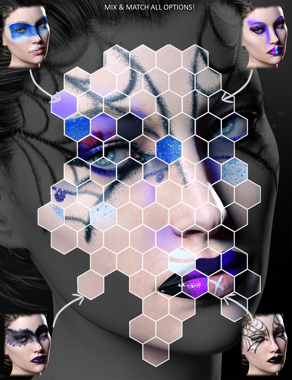 Extreme Closeup: High Fashion Makeup for Genesis 3 Female(s) by: ForbiddenWhisperschevybabe25, 3D Models by Daz 3D