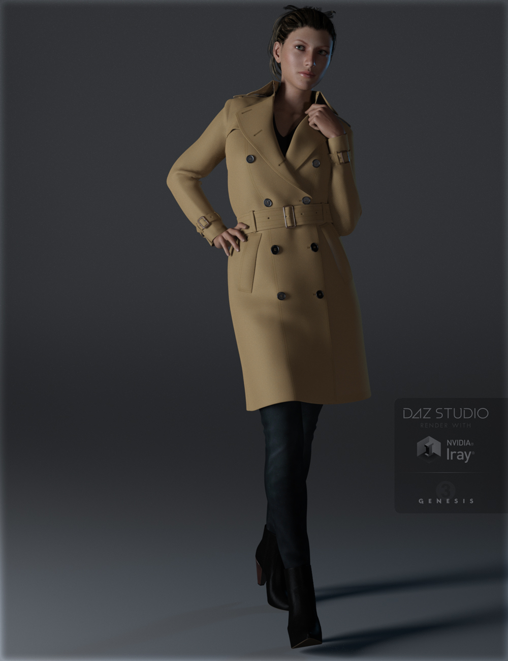 Trench Coat Outfit for Genesis 3 Female(s) by: IH Kang, 3D Models by Daz 3D