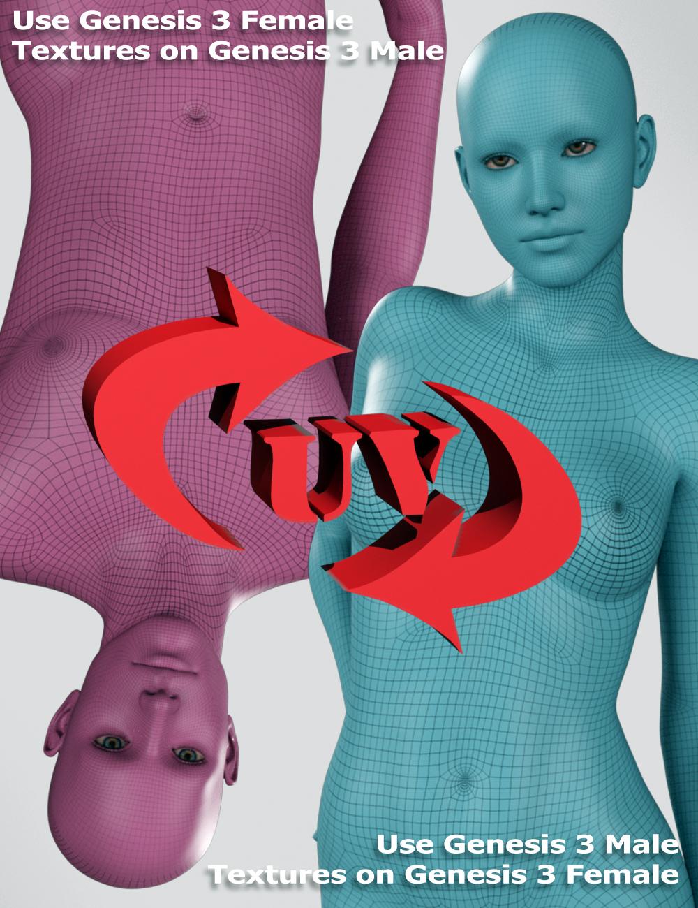 Genesis 3 UV Swap: Male and Female Base by: SloshWerks, 3D Models by Daz 3D