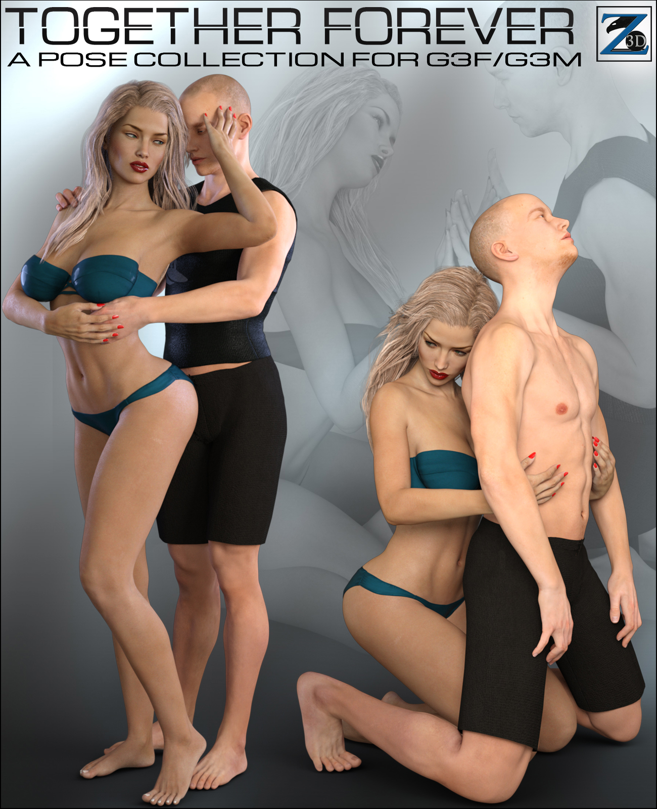 Z Together Forever - Poses for Genesis 3 Female and Male by: Zeddicuss, 3D Models by Daz 3D