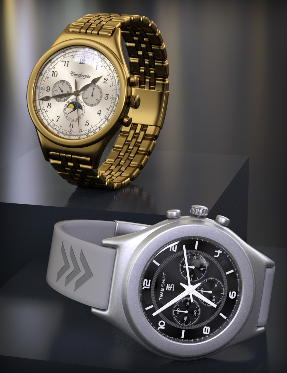 Varied Round Watches for Round Wristwatch by: esha, 3D Models by Daz 3D