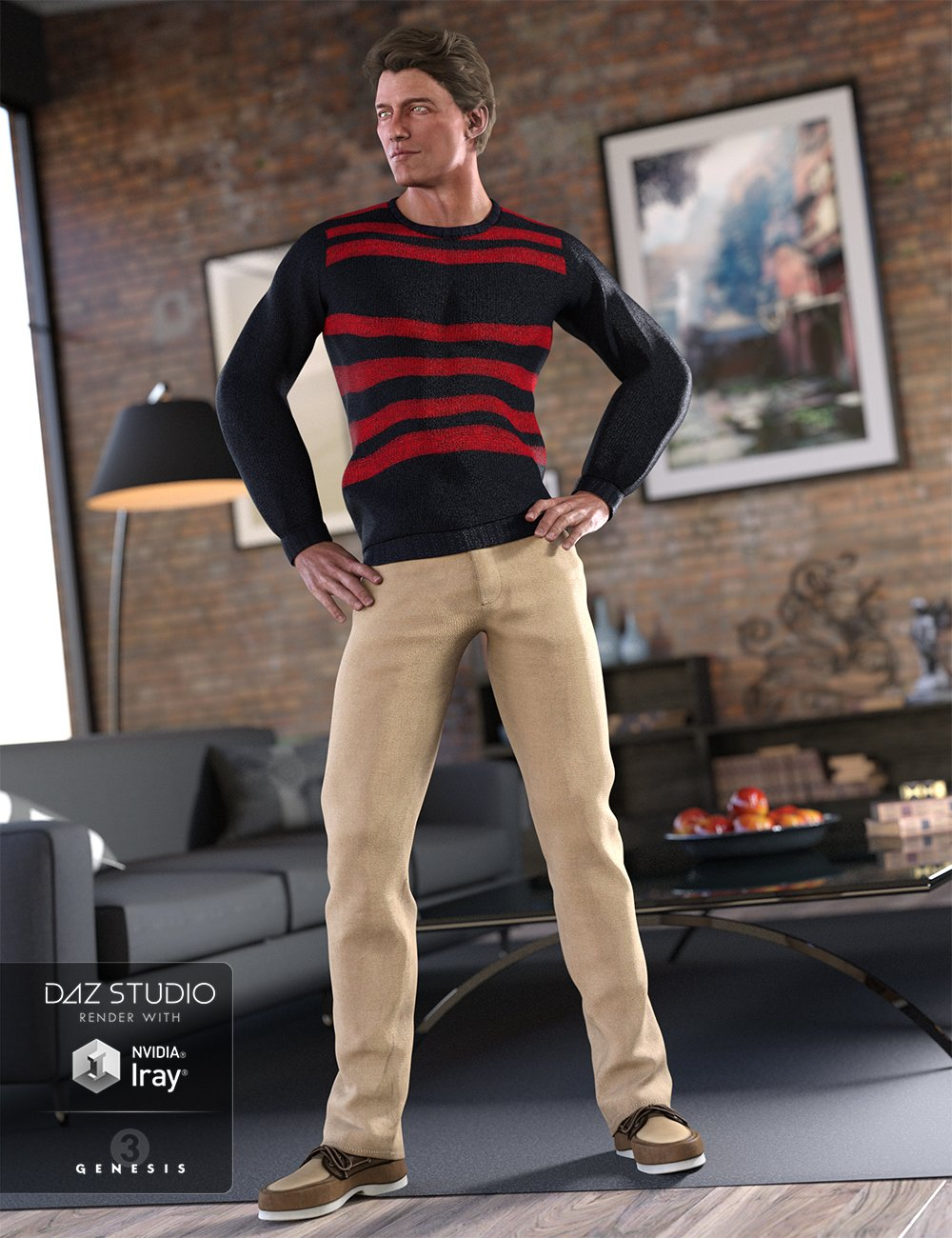 Casual Winter Outfit for Genesis 3 Male(s) by: MadaSarsa, 3D Models by Daz 3D