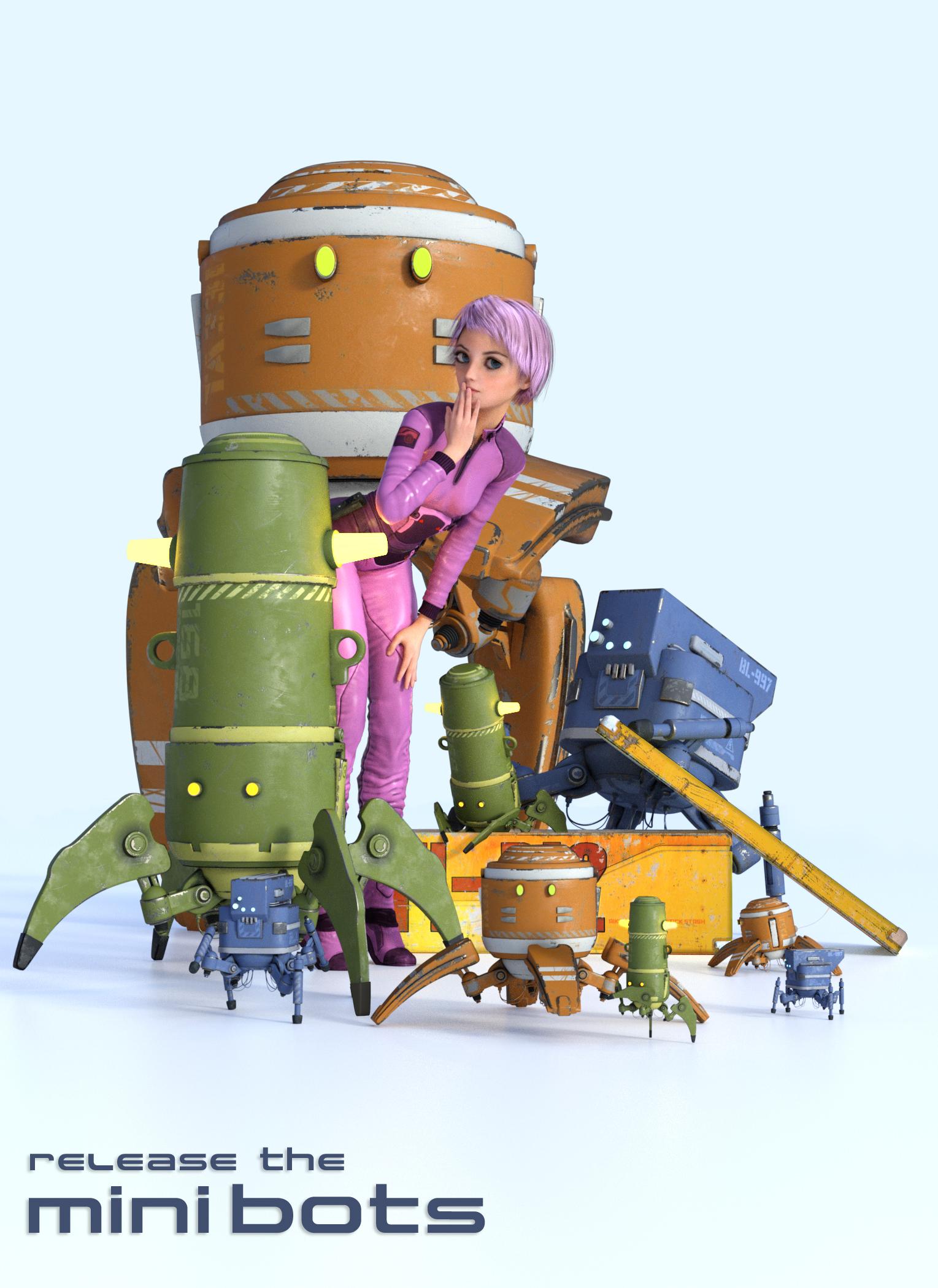 Mini Bots by: The AntFarm, 3D Models by Daz 3D