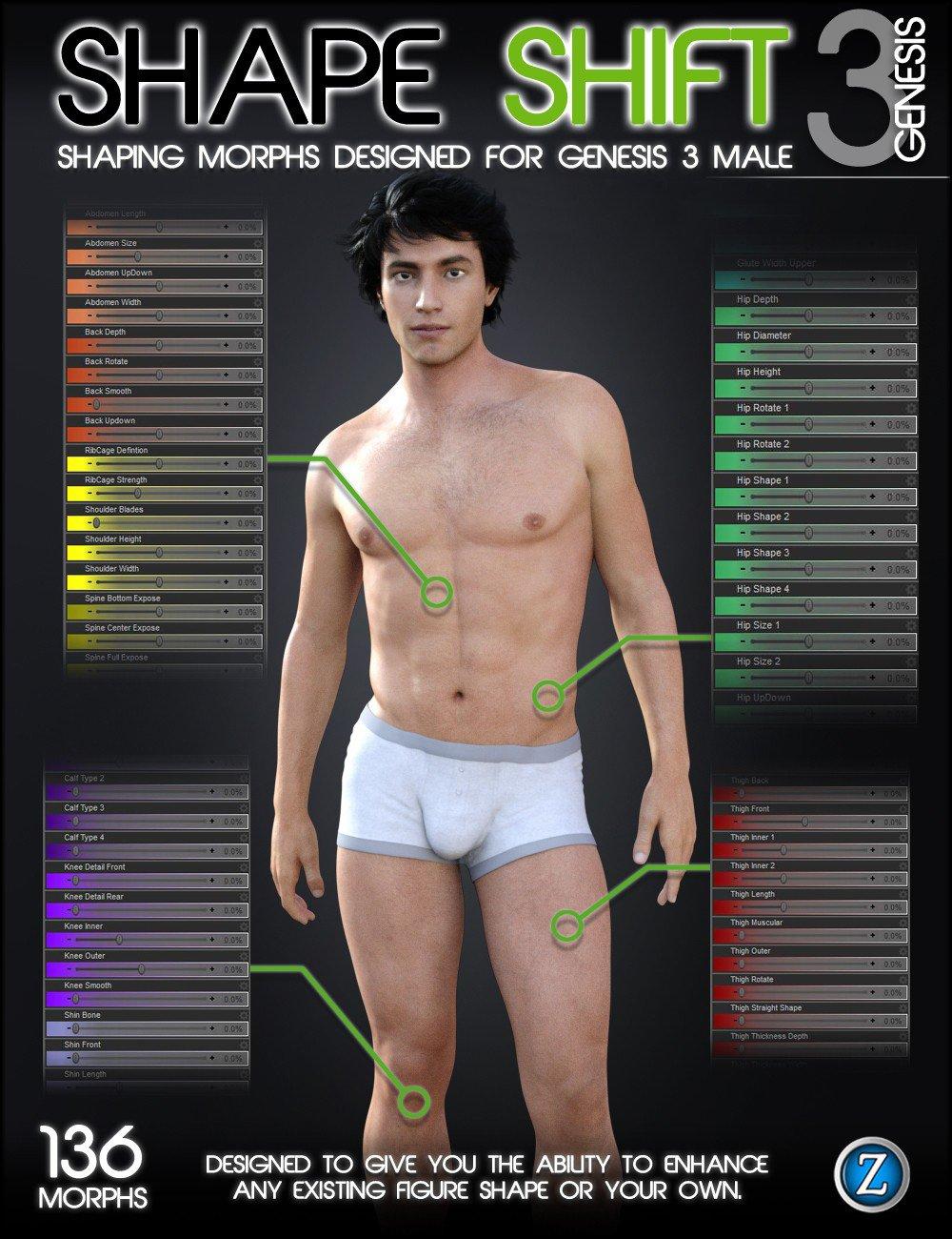 Shape Shift for Genesis 3 Male(s) by: Zev0, 3D Models by Daz 3D