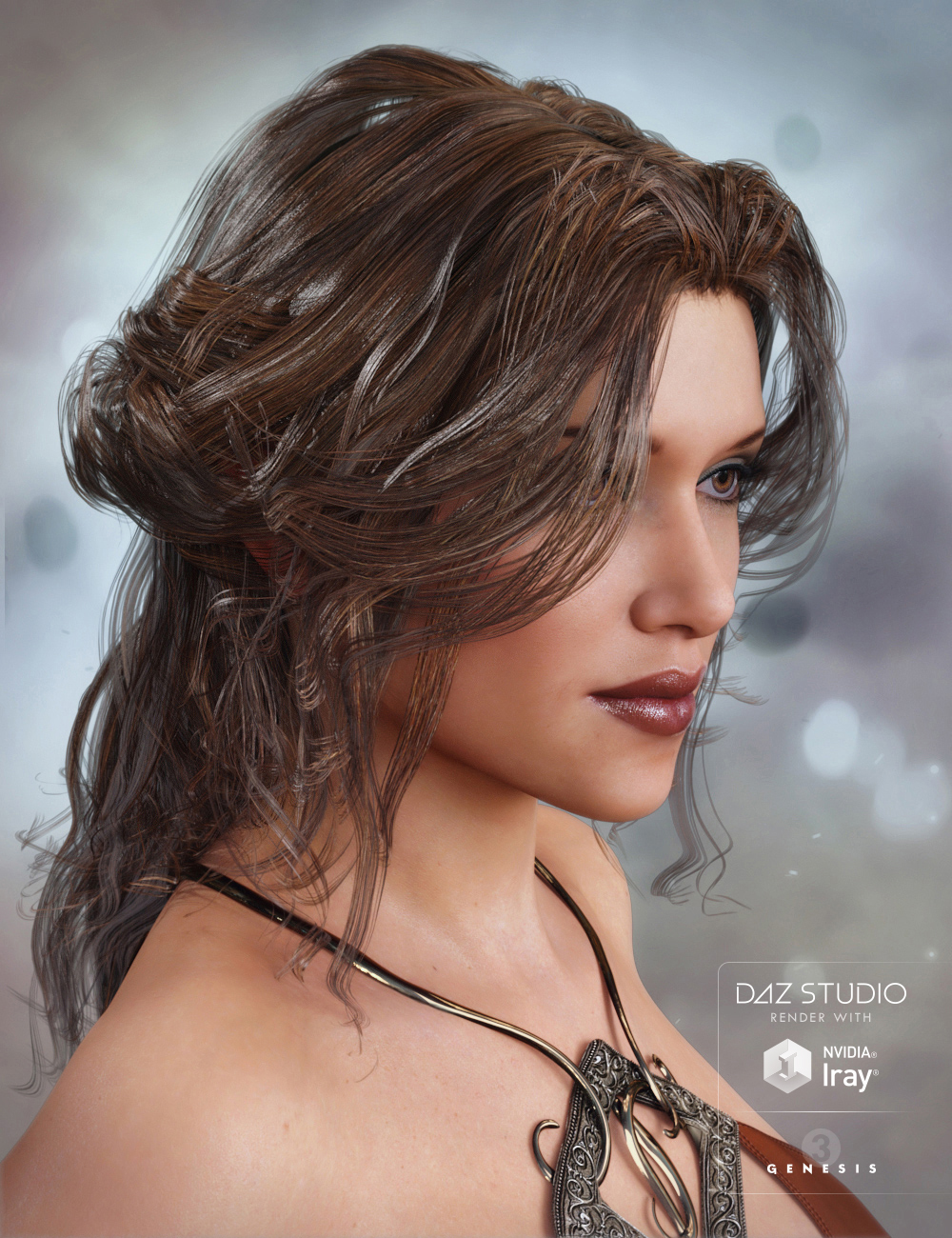 Galene Hair for Genesis 3 Female(s) by: goldtassel, 3D Models by Daz 3D