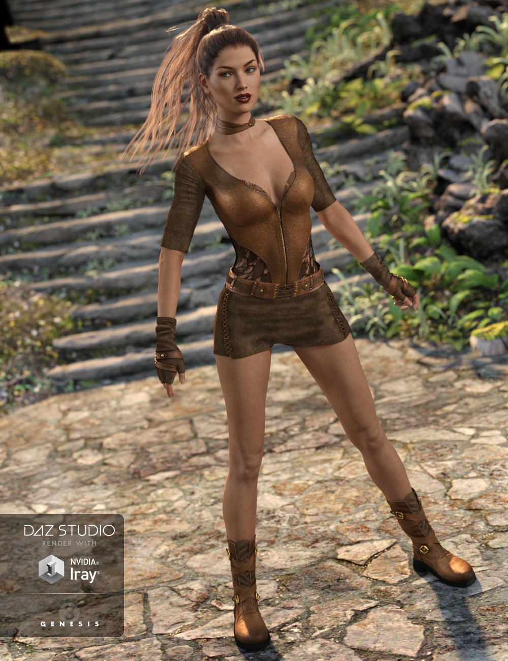 Badlands Roamer Outfit for Genesis 3 Female(s) by: 4blueyes, 3D Models by Daz 3D