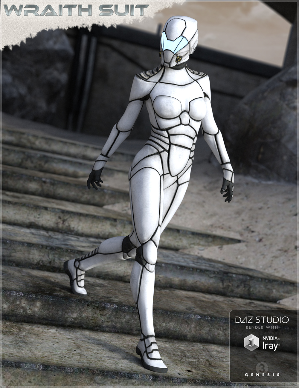 HFS Wraith Suit for Genesis 2 and 3 Female(s) by: DarioFish, 3D Models by Daz 3D