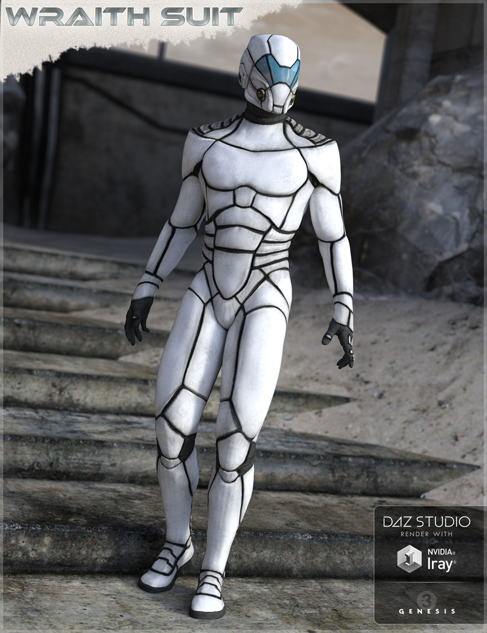 HFS Wraith Suit for Genesis 2 and 3 Male(s) by: DarioFish, 3D Models by Daz 3D