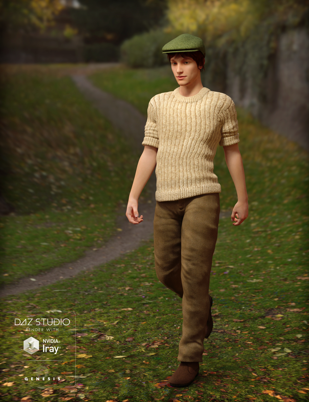 Chunky Knit Sweater Outfit for Genesis 3 Male(s) by: Inkara, 3D Models by Daz 3D
