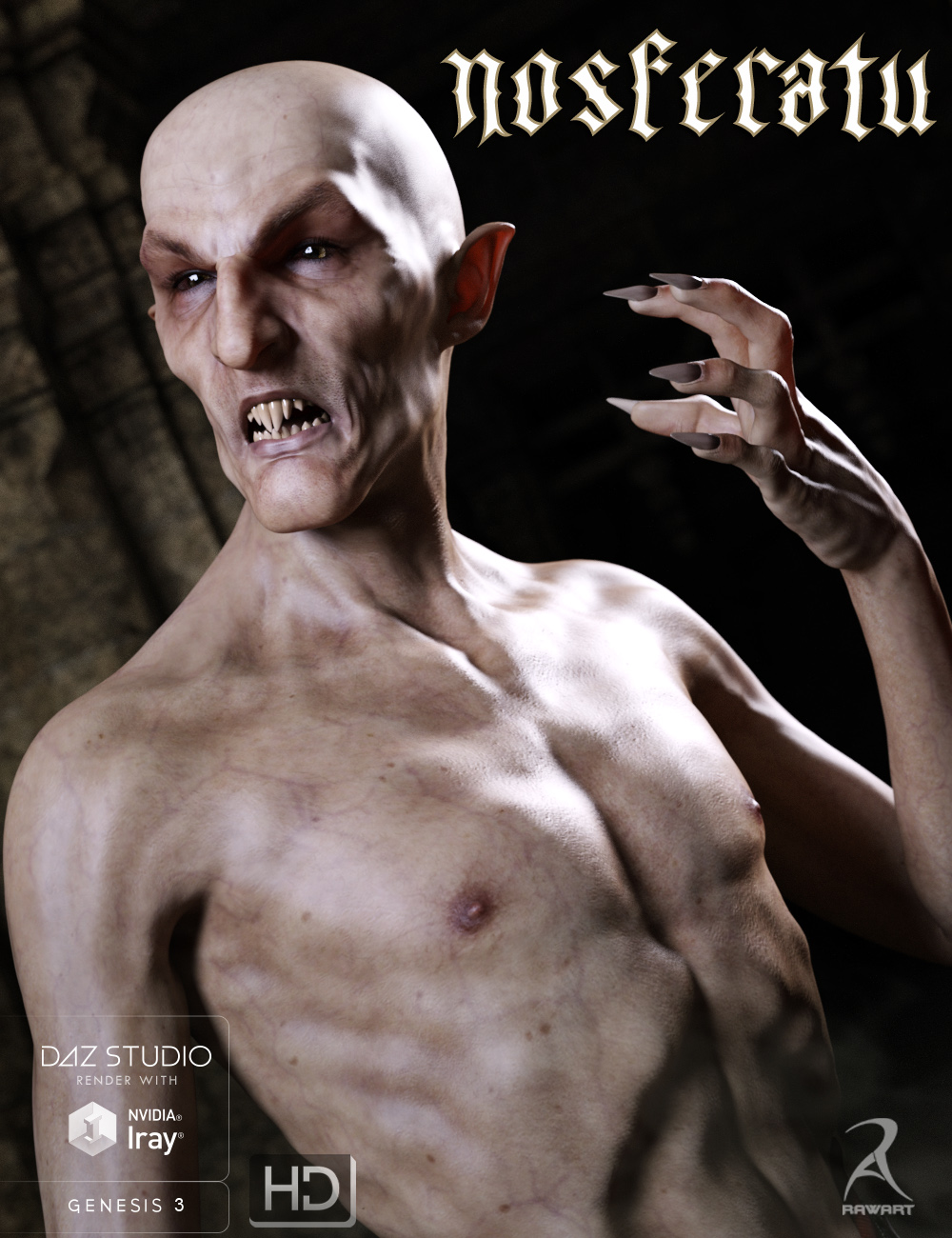 Nosferatu for Genesis 3 Male by: RawArt, 3D Models by Daz 3D
