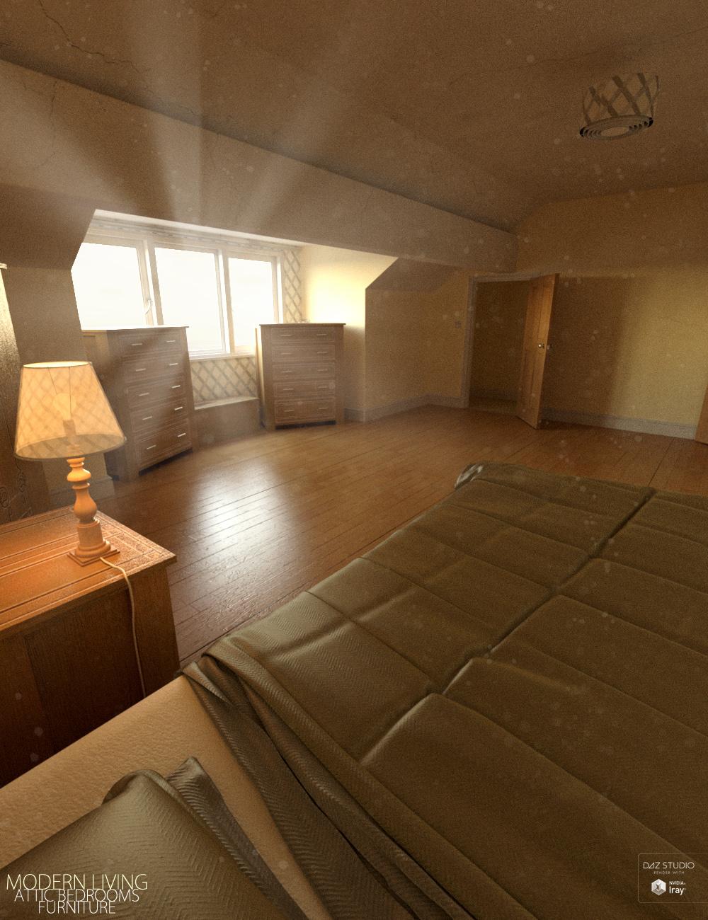 Modern Living Attic Bedroom Furniture by: David BrinnenForbiddenWhispers, 3D Models by Daz 3D