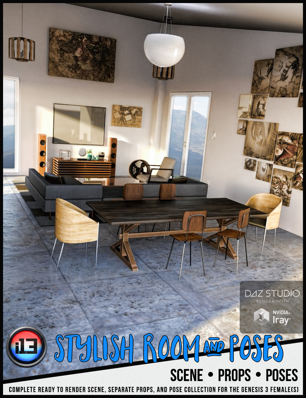 i13 Stylish Room and Poses by: ironman13, 3D Models by Daz 3D