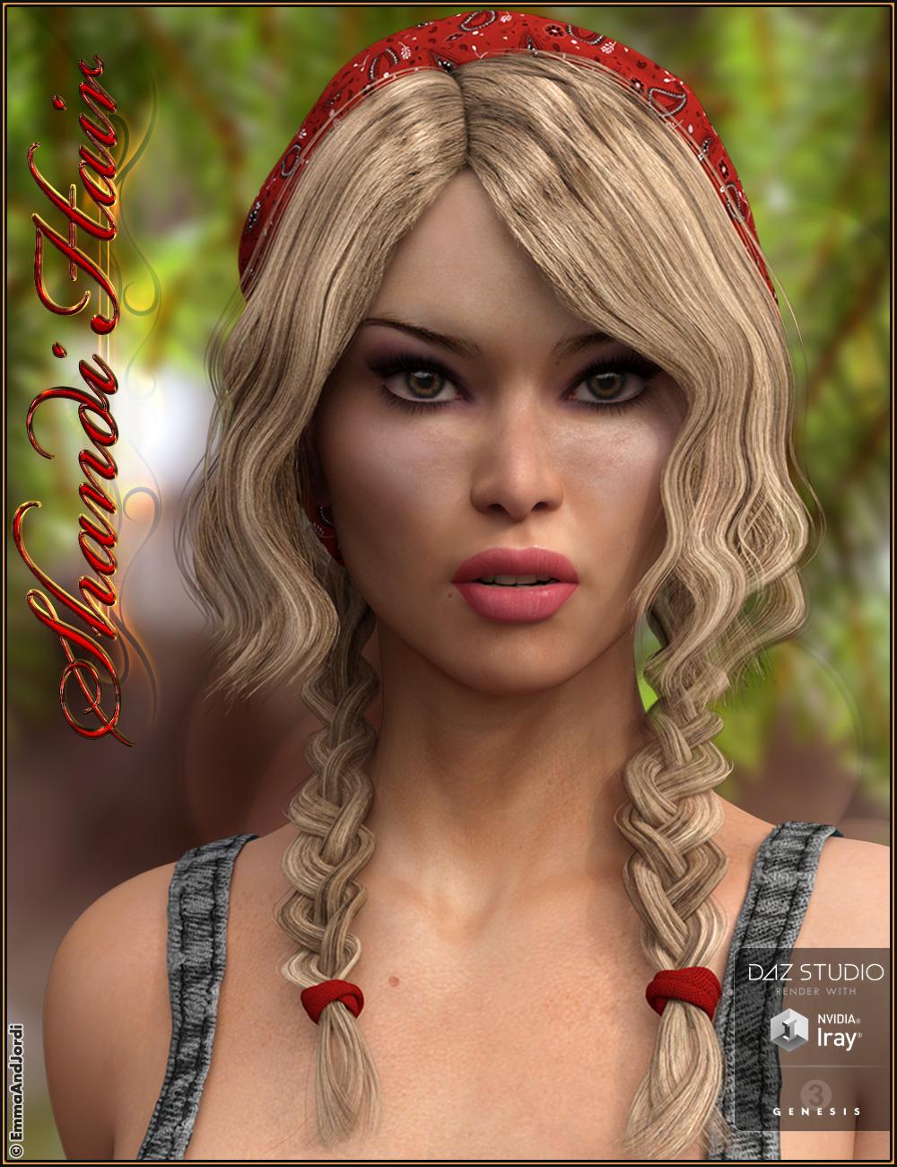Shandi Hair for Genesis 3 Female(s) by: EmmaAndJordi, 3D Models by Daz 3D
