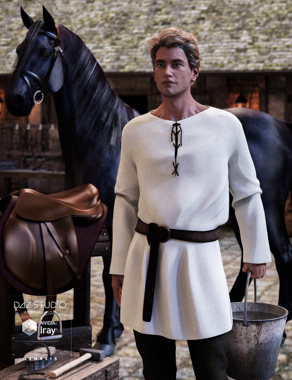 Peasant Outfit for Genesis 3 Male(s) by: Mada, 3D Models by Daz 3D