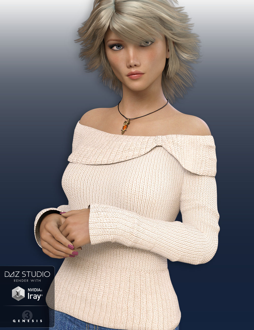 Off Shoulder Sweater for Genesis 3 Female(s) by: WildDesigns, 3D Models by Daz 3D