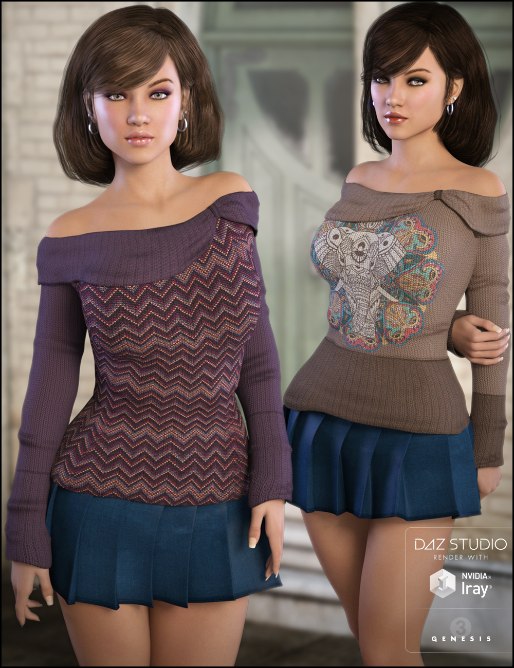 Off Shoulder Sweater Comfy Textures by: Jessaii, 3D Models by Daz 3D