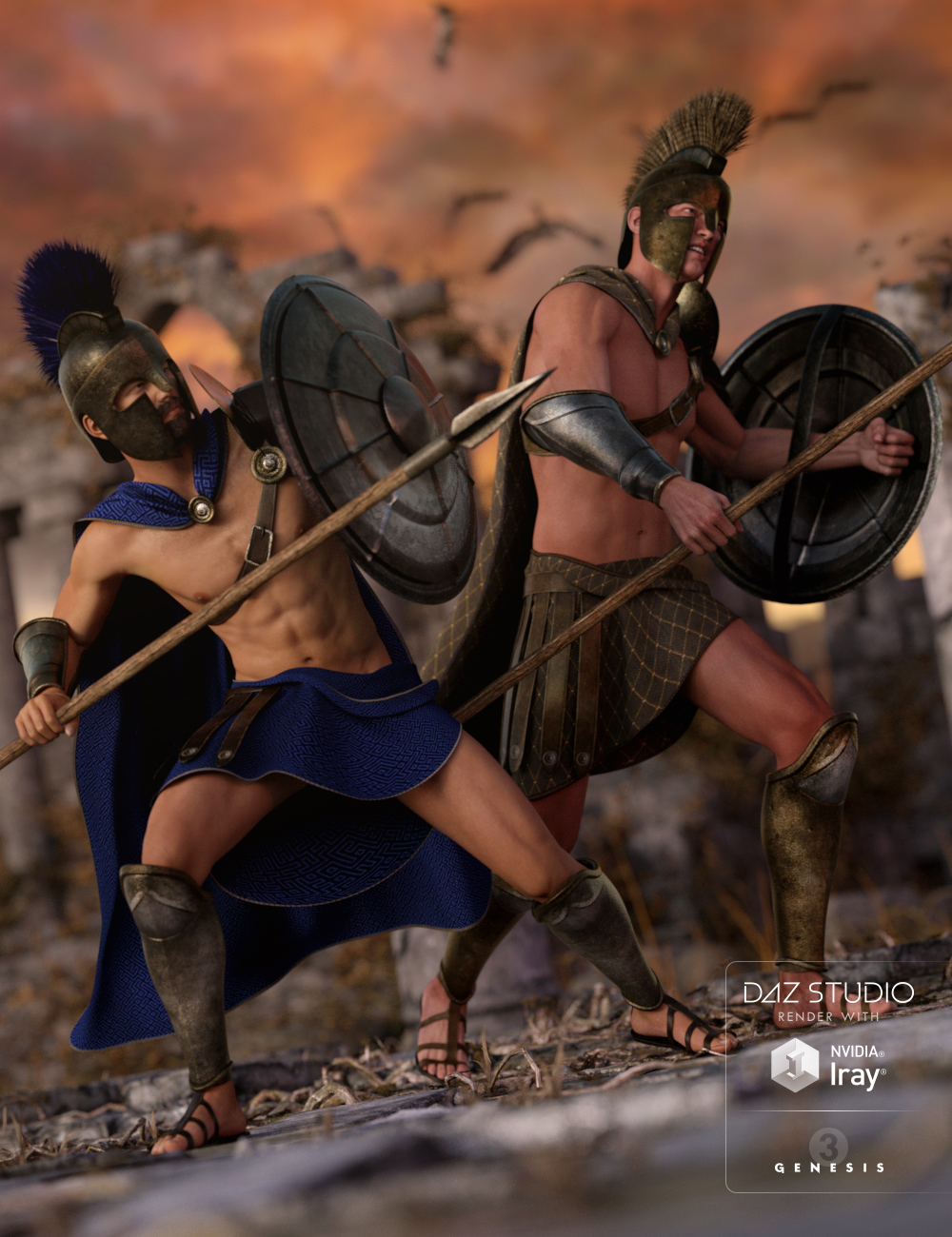 Spartan Warrior Textures by: Sarsa, 3D Models by Daz 3D