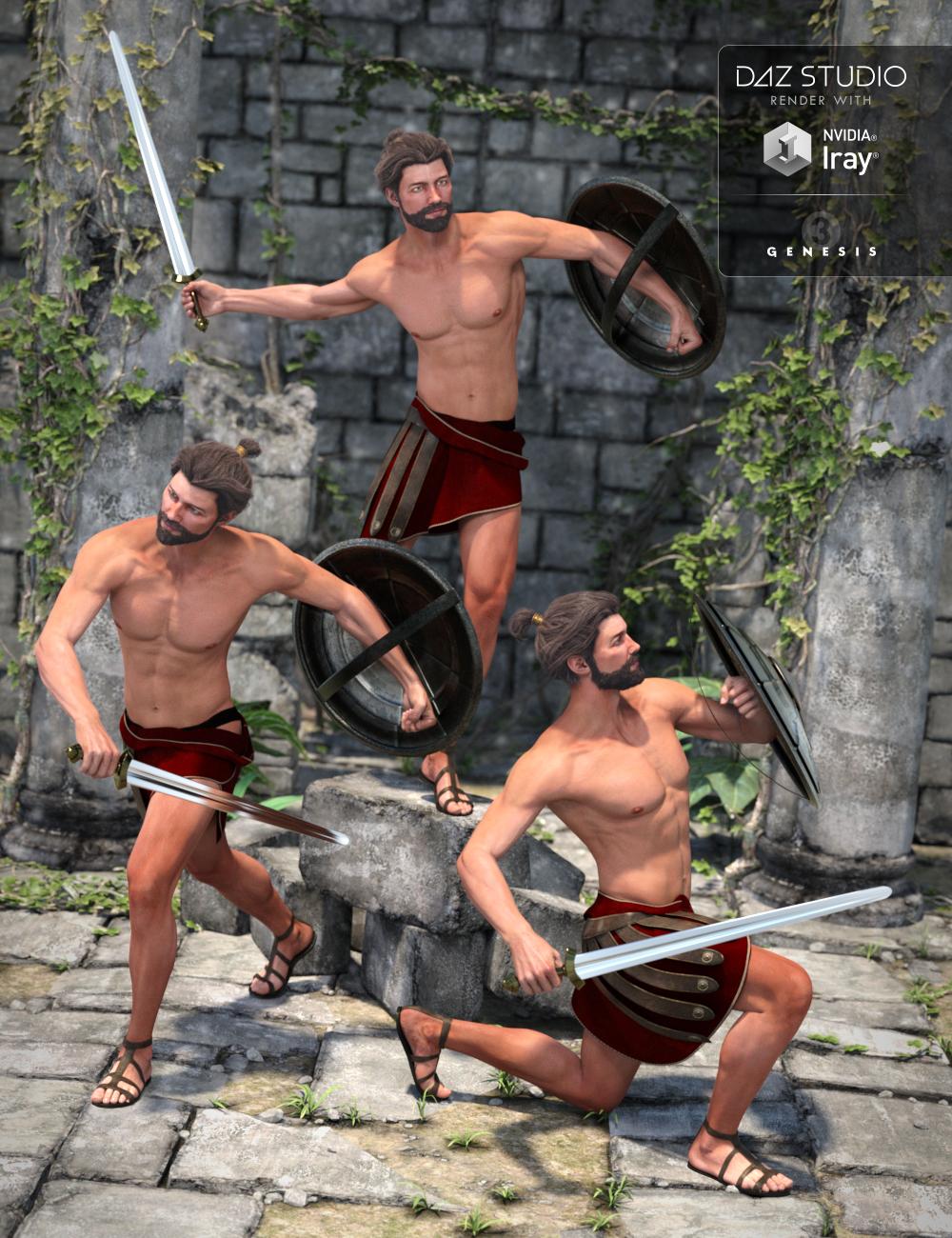 Capsces Gladiator Poses Leo 7 by: Capsces Digital Ink, 3D Models by Daz 3D