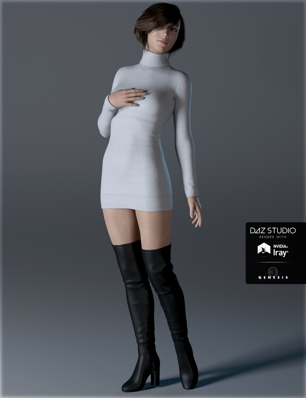 Sweater Dress for Genesis 3 Female(s) by: IH Kang, 3D Models by Daz 3D