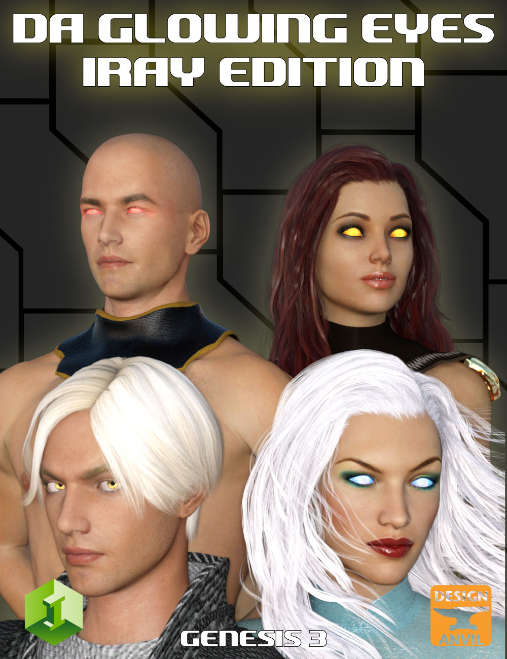 DA Glowing Eyes Iray Edition for Genesis 3 by: Design Anvil, 3D Models by Daz 3D