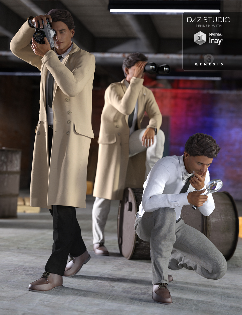 Detective Poses and Props by: Val3dart, 3D Models by Daz 3D