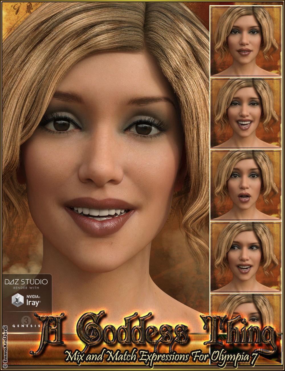 A Goddess Thing Mix and Match Expressions for Olympia 7 by: EmmaAndJordi, 3D Models by Daz 3D