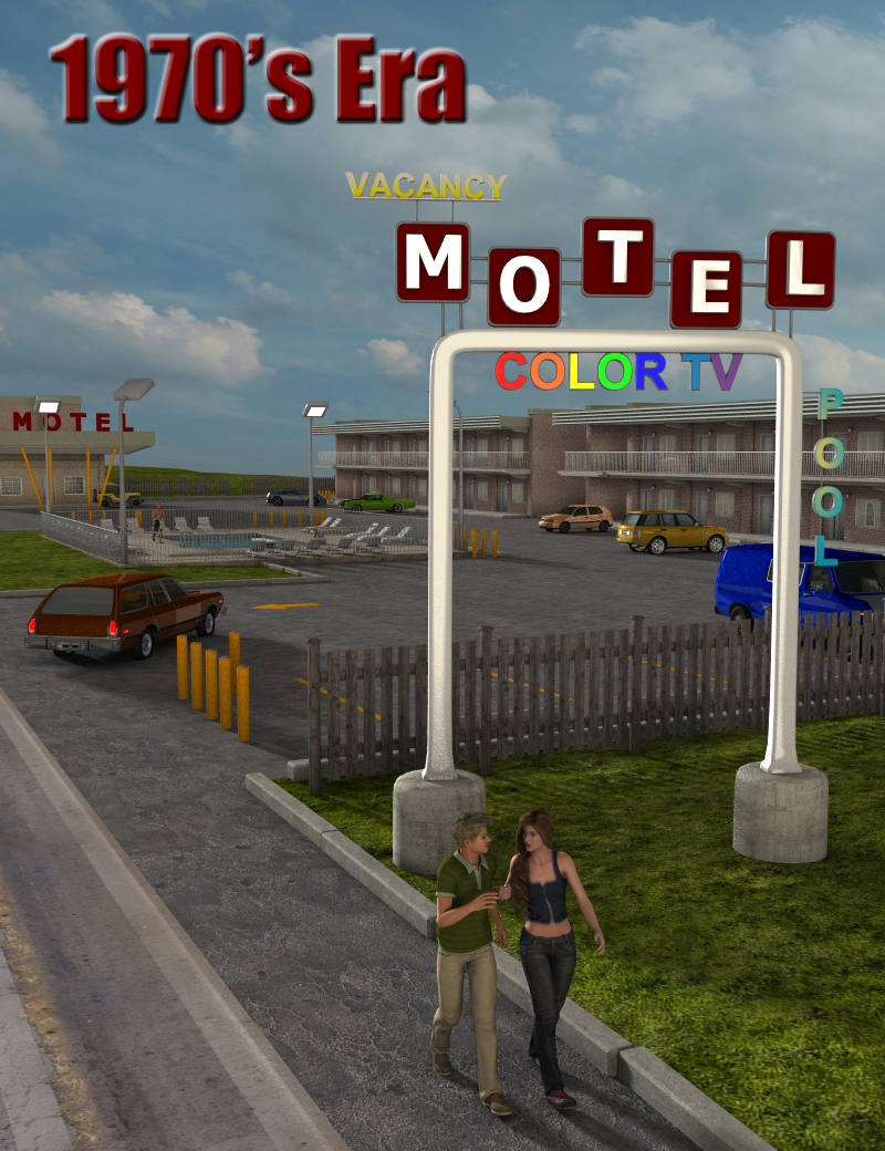1970's Era Motels by: FirstBastion, 3D Models by Daz 3D