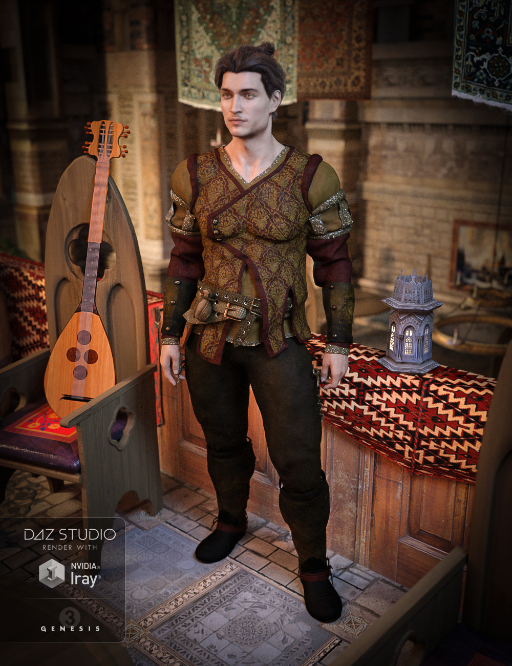 The Bard Outfit for Genesis 3 Male(s) by: Anna BenjaminBarbara Brundon, 3D Models by Daz 3D