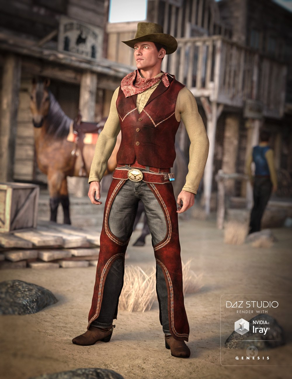 Cowboy Outfit for Genesis 3 Male(s) by: Barbara BrundonSarsa, 3D Models by Daz 3D