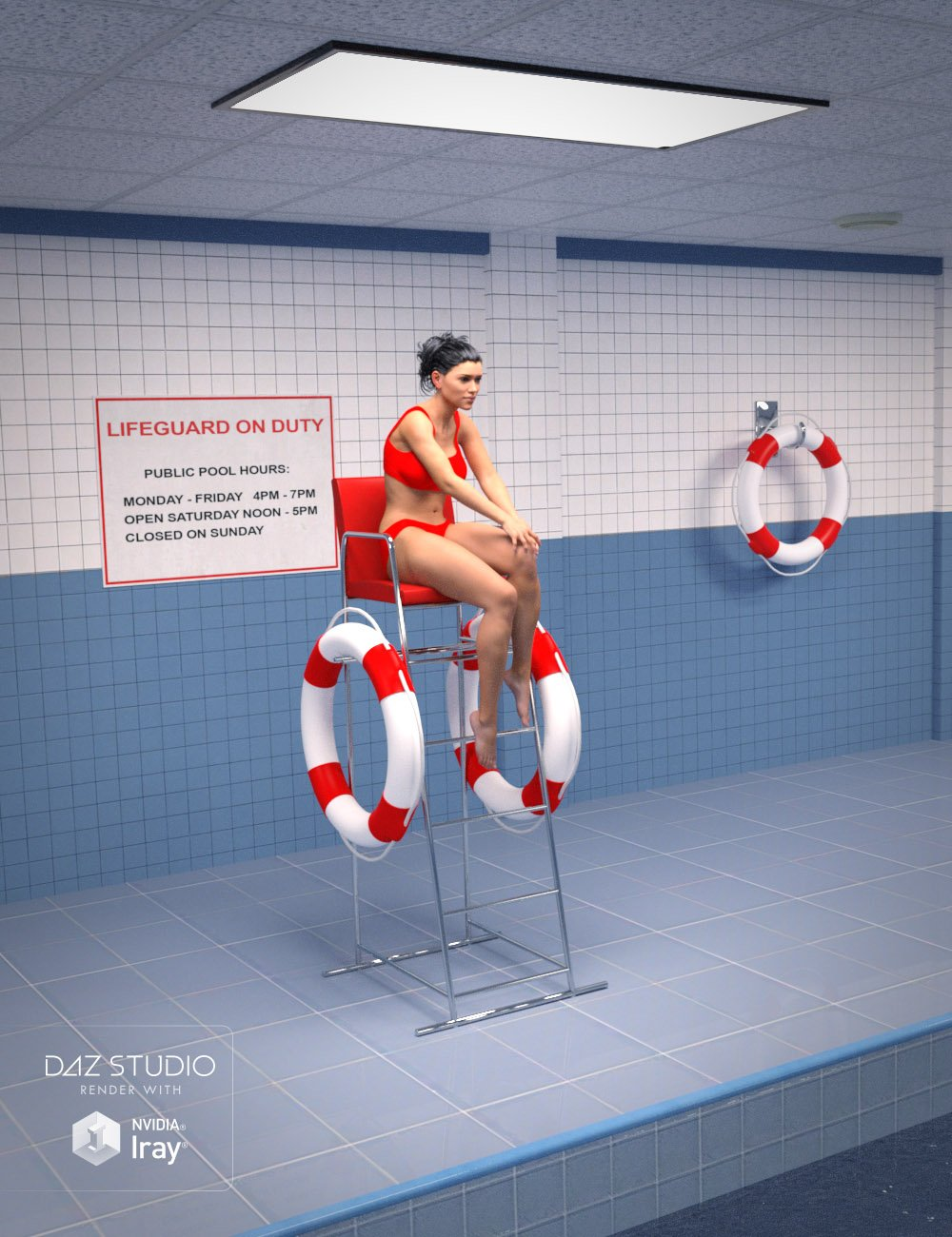 Public Indoor Pool by: , 3D Models by Daz 3D