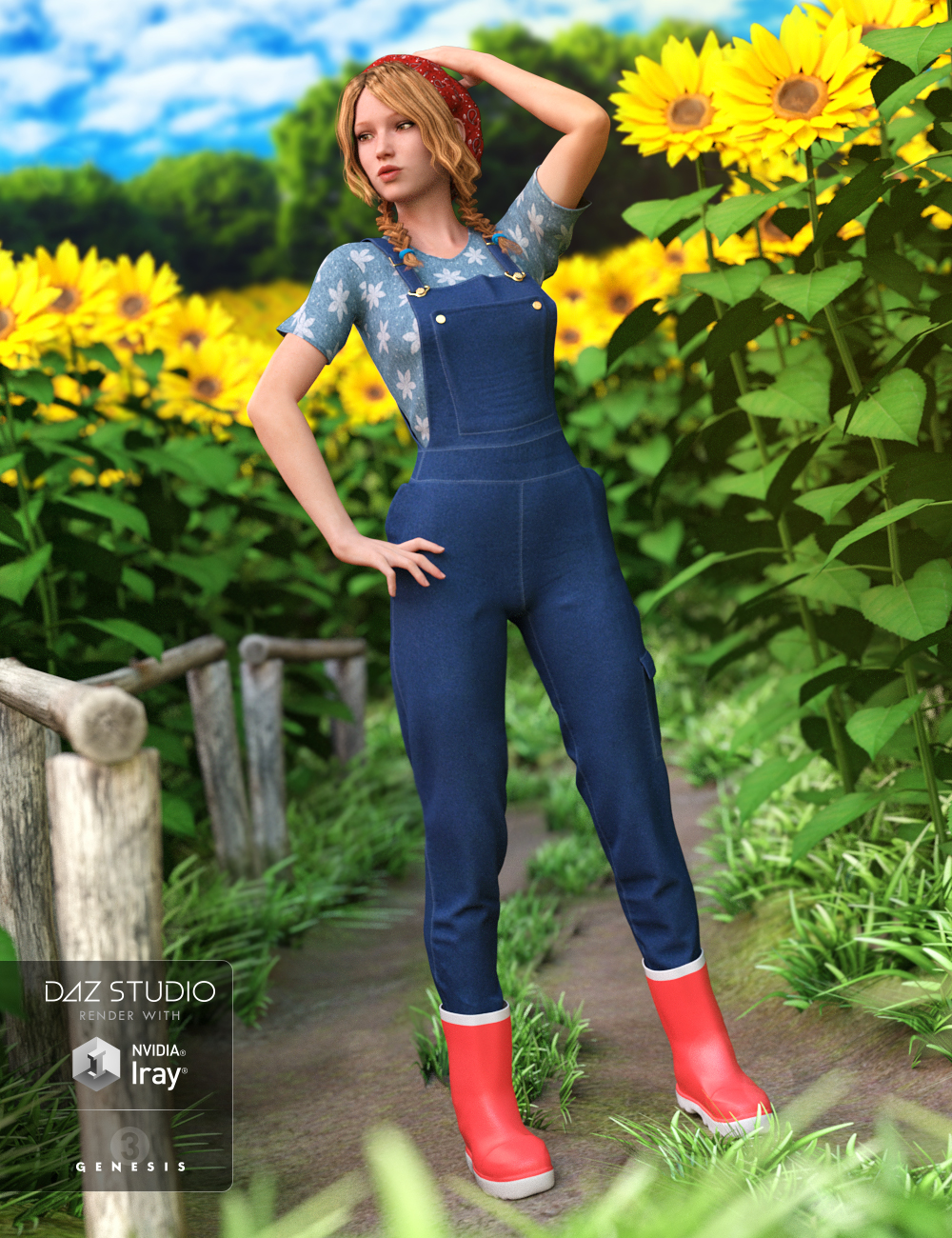 Garden Outfit for Genesis 3 Female(s) by: Oskarsson, 3D Models by Daz 3D