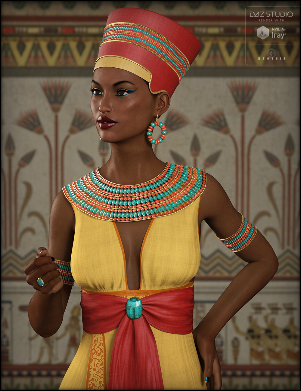 Egyptian Outfit for Genesis 3 Female(s) by: Fisty & Darc, 3D Models by Daz 3D