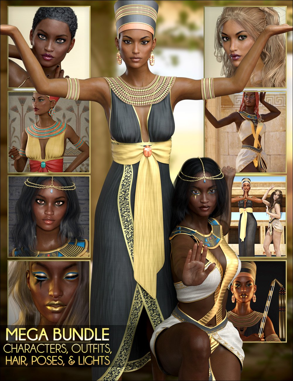 Egyptian MEGA Bundle – Characters, Outfits, Hair, Poses and Lights by: SWAMSvevaSabbyLilflameFred Winkler ArtFisty & DarcSedor, 3D Models by Daz 3D