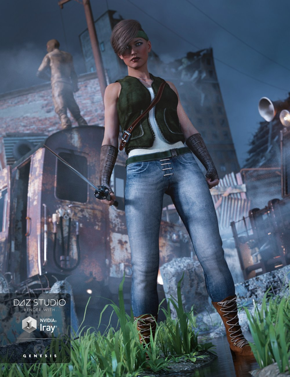 Wall Ranger Outfit for Genesis 3 Female(s) by: Bluebird 3D ClothingShox-Design, 3D Models by Daz 3D