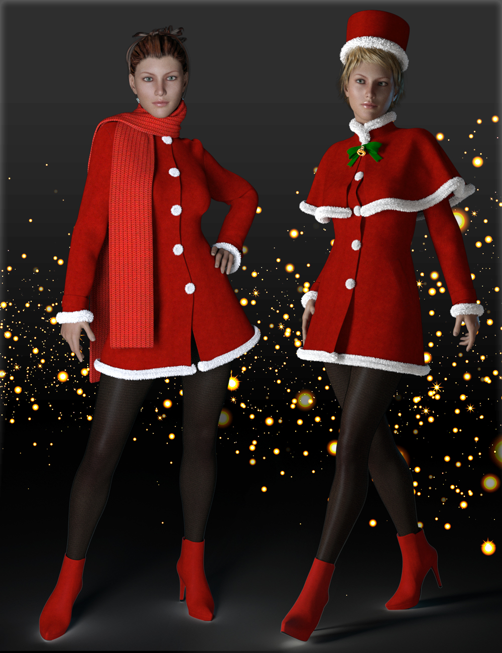 H&C Christmas Costumes for Genesis 3 Female(s) by: IH Kang, 3D Models by Daz 3D